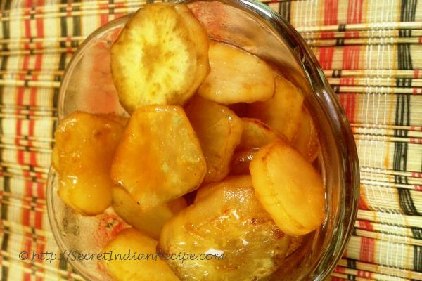 photo of ratalyache kaap ( sweet potato chips with jaggery)