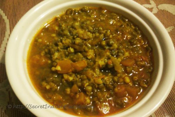 photo of sabut moong ki dal (whole green gram curry)