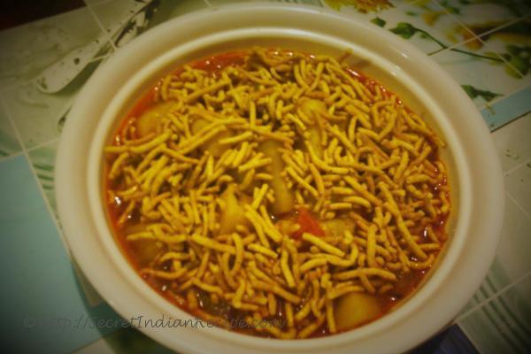 photo of aloo aur sev ki sabzi (potato & gram flour snack curry)