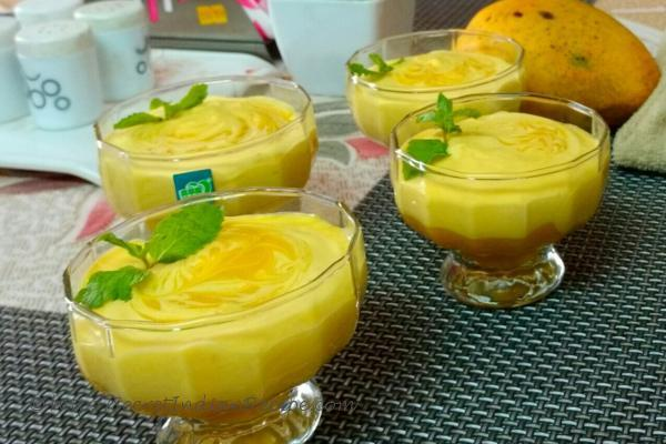 photo of saffron flavoured mango mousse(eggless)
