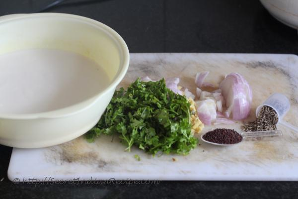 photo of ingredients for paddu
