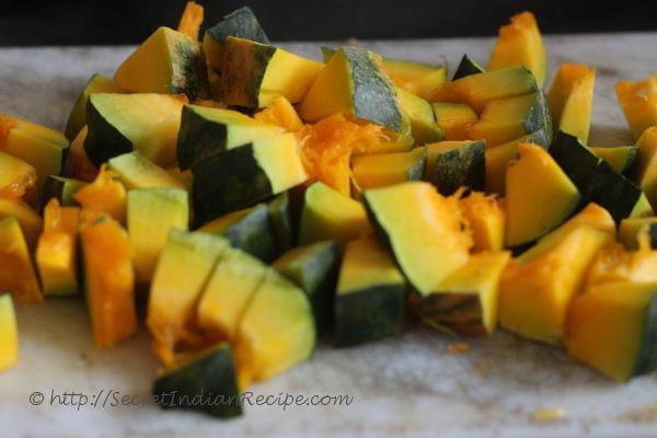 photo of kadhu ki sabzi (pumpkin curry)
