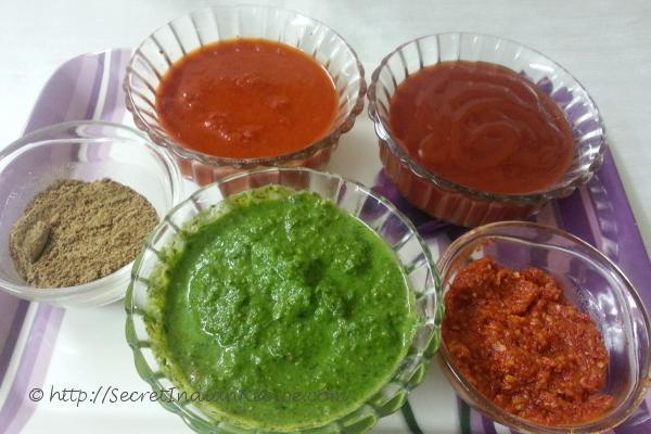 Coriander chutney,schwezan sauce,tomato sauce & chaat masala.
