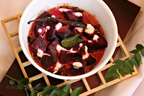 photo of beetroot yogurt curry