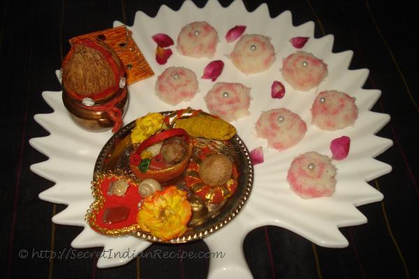 photo of fresh nariyal burfi-rosy coconut burfi (in asharfi shapes ) discs#myregionaldiwalirecipe