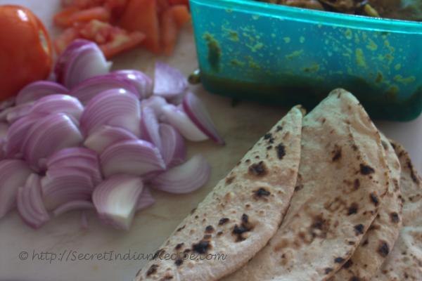 photo of ingredients for kothu chapathi